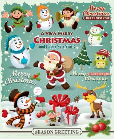 Vintage Christmas poster design Christmas design element