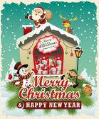 Vintage Christmas poster design with Santa Claus Snowman elf & deer