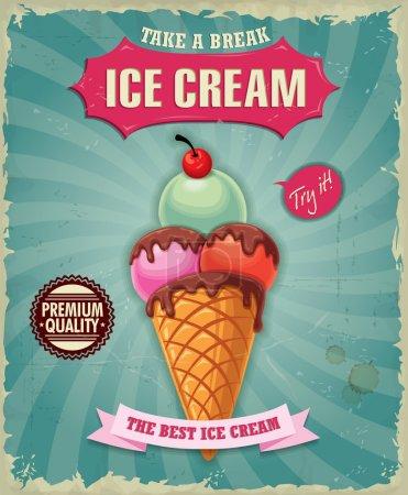 Illustration pour Conception d'affiche vintage de crème glacée - image libre de droit