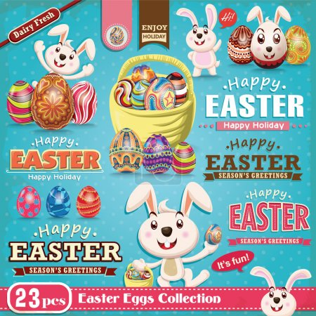 Illustration for Vintage Easter poster design element set - Royalty Free Image