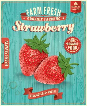 Illustration for Vintage farm fresh strawberry design - Royalty Free Image