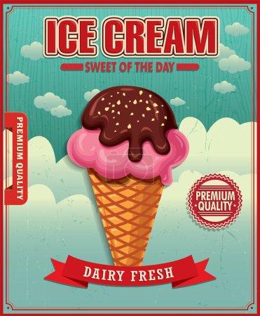 Vintage ice cream poster design