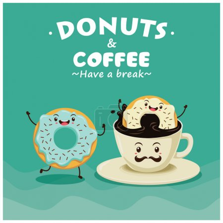 Vintage donuts cartoon character poster design
