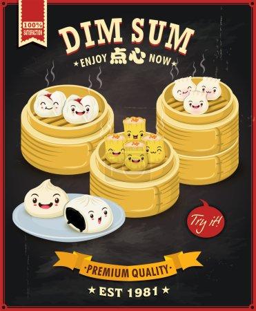 Vintage dim sum poster design set. Texto chino significa un plato chino de pequeñas albóndigas saladas al vapor o fritas que contienen varios rellenos, servido como aperitivo o plato principal .