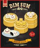 Vintage dim sum poster design set Chinese text means a Chinese dish of small steamed or fried savory dumplings containing various fillings served as a snack or main course