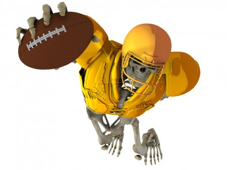 The skeleton in the role of the player in American football