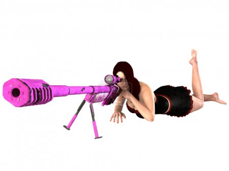 3d rendered sexy woman with a sniper riffle
