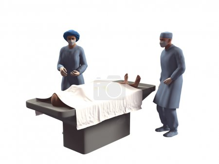 3d render of nurse and dead body in morgue