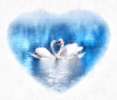Photo pour Cygnes gracieux amoureux sur le lac bleu encadré d'une forme de coeur. Peinture numérique. Imitation numérique de peinture à l'aquarelle - image libre de droit