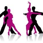 Detailed ballroom dancers silhouettes...
