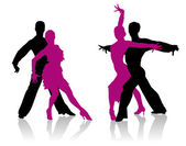 Detailed ballroom dancers silhouettes