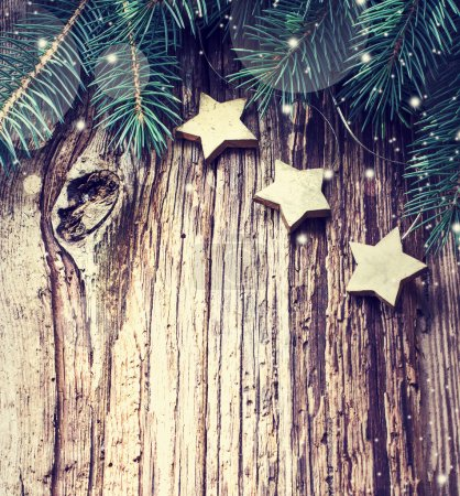 Christmas pine branches and stars