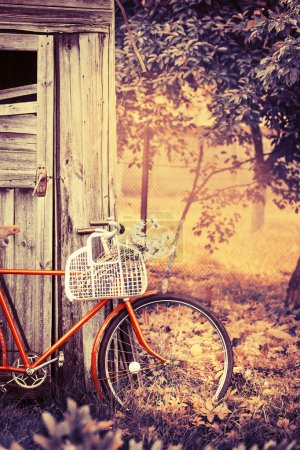 Photo for Vintage Bicycle with flowers summer background with bicycle (toned picture) - Royalty Free Image