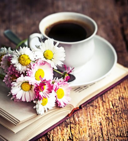Photo for A cup of hot coffee, flowers and book. Romantic background with retro filter effect - Royalty Free Image