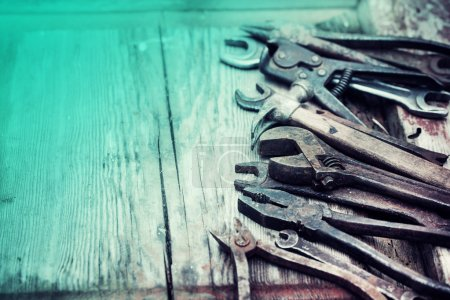 Photo for Set of hand tools on a wooden panel - Royalty Free Image