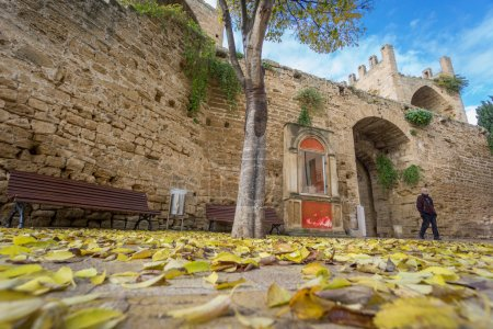 Alcudia Old Town entrance in autumn, Majorca