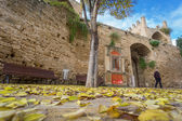 Alcudia Old Town entrance in autumn, Majorca