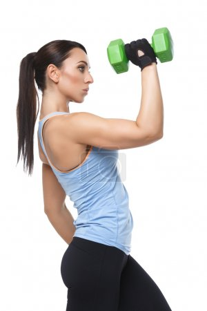 Sport woman with dumbbells
