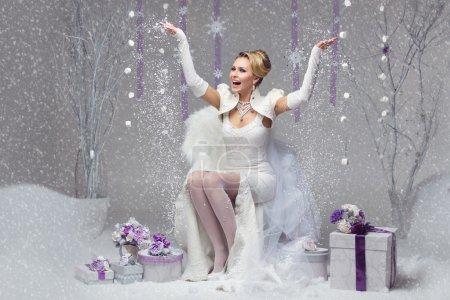 Happy winter bride