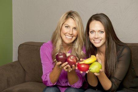 Girls Posing With Fruit