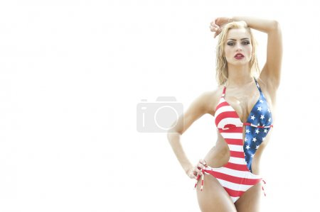 Blonde Wearing American Flag Swimsuit