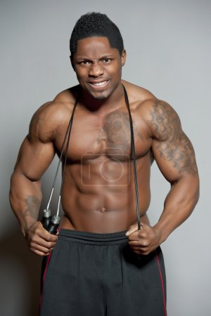 African American Body Builder with Jump Rope