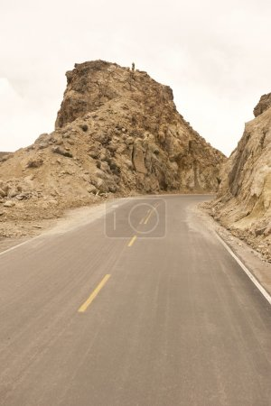 Photo for A Peruvian roadway near Arequipa Peru in the Caylloma Province on a cloudy day - Royalty Free Image