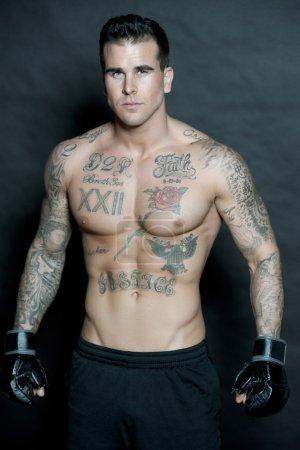 Attractive Caucasian Male Body Builder Posing