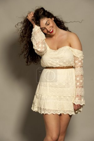 Gorgeous Young Happy Brunette Wearing White