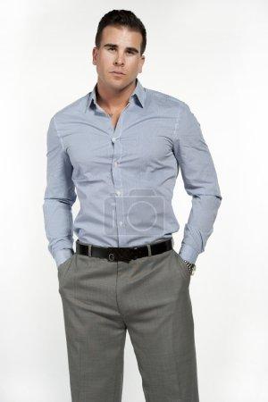 Fit Caucasian Male Model in Dress Shirt