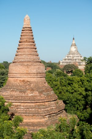 Temple Spires in  Bagan, Myanmar (Burma).