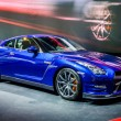 Постер, плакат: MOSCOW RUSSIA AUG 2012: NISSAN GT R R35 presented as world premiere at the 16th MIAS Moscow International Automobile Salon on August 30 2012 in Moscow Russia