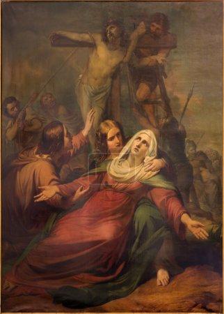 Photo pour BRUXELLES, BELGIQUE - 15 JUIN 2014 : Le dépôt de la croix par Jean Baptiste van Eycken (1809 - 1853) à Notre Dame de la Chapelle - image libre de droit