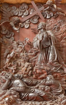 PADUA, ITALY - SEPTEMBER 10, 2014: The carved relief Jesus prayer in Gethsemane garden the sacristy of church Chiesa di San Gaetano by Michele Fabris (nickname l'Ongaro) from 17. cent.