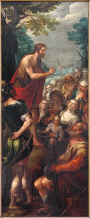 MECHELEN, BELGIUM - JUNE 14, 2014: The Sermon of st. John the Baptist as the  left panel of the Baptistm of Christ triptych in church Our Lady across de Dyle.