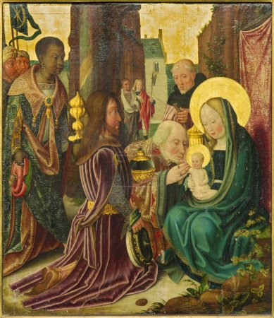 BRUGES, BELGIUM - JUNE 12, 2014: The Adoration of Magi scene by unknown painter from 15. cent. in the church Our Lady.