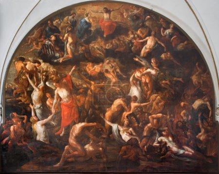 Photo pour BRUGGE, BELGIQUE - 13 JUIN 2014 : La fresque du jugement dernier dans l'église d'Annakerk ou Annes par Henri Herrecoudts (1665 ), - image libre de droit