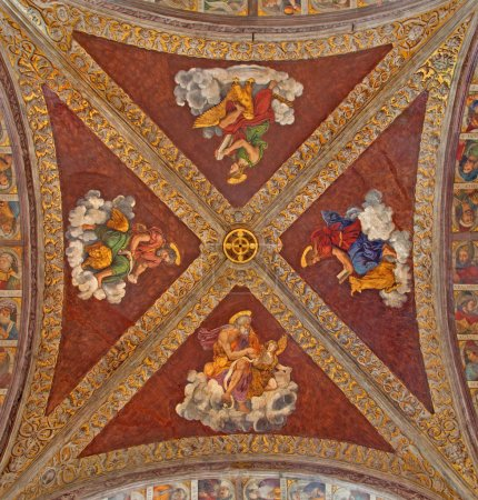PADUA, ITALY - SEPTEMBER 8, 2014: The ceiling fresco in church San Francesco del Grande with the Four Evangelist in chapel Santa Maria della Carita by Girolamo Tessari (1523 - 24)