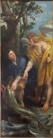 MECHELEN, BELGIUM - JUNE 14, 2014: Tobias with the archangel Raphael and fish scene as right part of The Miracle fishing triptych (1618) by Peter Paul Rubens in church Our Lady across de Dyle.