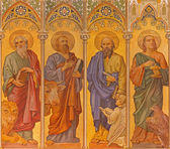 TRNAVA, SLOVAKIA - OCTOBER 14, 2014: The neo-gothic fresco of four  evangelists (Mark,Luke,Matthew,John) by Leopold Bruckner (1905 - 1906) in Saint Nicholas church.