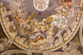 TRNAVA, SLOVAKIA - OCTOBER 14, 2014: The baroque fresco of the Coronation of Virgin Mary by A. Hess in Saint Nicholas church and Virgin Mary side chapel.