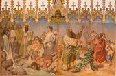 TRNAVA, SLOVAKIA - OCTOBER 14, 2014: Fresco of scene as Moses gets water from rock Passover and offer of the firstborns at the Lords passover by L. Bruckner (1905 - 1906) in Saint Nicholas church.