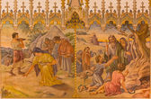 TRNAVA, SLOVAKIA - OCTOBER 14, 2014: The neo-gothic fresco of scene as Israelites at gathering of manna, and as Moses made a bronze snake by Leopold Bruckner (1905 - 1906) in Saint Nicholas church.