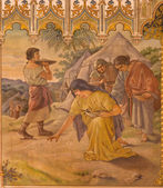 TRNAVA, SLOVAKIA - OCTOBER 14, 2014: The neo-gothic fresco of fhe scene as Israelites at gathering of manna by Leopold Bruckner (1905 - 1906) in Saint Nicholas church.