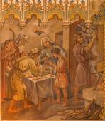 TRNAVA, SLOVAKIA - OCTOBER 14, 2014: The neo-gothic fresco of fhe scene as Israelites at the Pesach supper at the Lords Passover by Leopold Bruckner (1905 - 1906) in Saint Nicholas church.