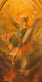 TRNAVA, SLOVAKIA - OCTOBER 14, 2014: The paint of archangel Michael from side chapel of  the gothic St. Nicholas church by unknown painter.
