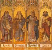 TRNAVA, SLOVAKIA - OCTOBER 14, 2014: The neo-gothic fresco of big prophets Isaiah, Jeremiah, Ezekiel, Daniel by Leopold Bruckner (1905 - 1906) in Saint Nicholas church.