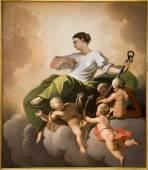 """Постер, картина, фотообои """"Вена - надежда - кардинальное достоинство - фреска от крыши церкви иезуитов"""""""