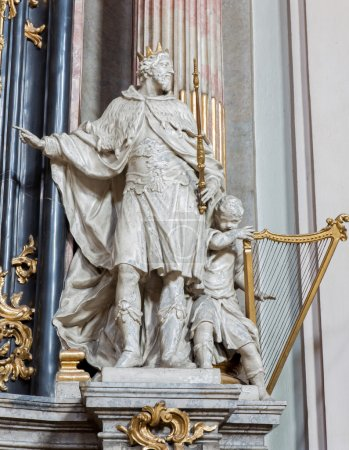 VIENNA - JULY 27: Statue of king david from baroque church Maria Treu. Church was build between years 1698 bis 1719 by plans of architect Lukas von Hildebrandt on July 27, 2013 Vienna.
