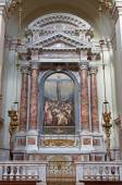 ROME, ITALY - MARCH 26, 2015: The fresco of angels wiht the music instruments in Thomas of Villanova side chapel by unknown artist of 19, cnet. in church in Basilica di Sant Agostino (Augustine).